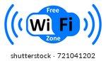 free wifi logo zone in cloud  ... | Shutterstock .eps vector #721041202