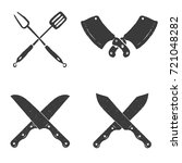 set of restaurant knives icons. ... | Shutterstock .eps vector #721048282