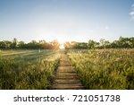 wooden pier in biebrza national ... | Shutterstock . vector #721051738