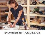 workshop of craftsman pottery ... | Shutterstock . vector #721053736