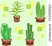 cacti in pots on a green... | Shutterstock .eps vector #721055962
