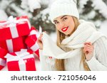 beautiful woman with christmas... | Shutterstock . vector #721056046
