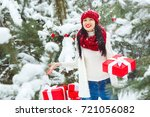beautiful woman with christmas... | Shutterstock . vector #721056082