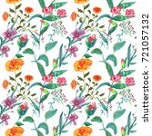 floral pattern on white... | Shutterstock . vector #721057132