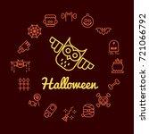 halloween line icons set.... | Shutterstock .eps vector #721066792