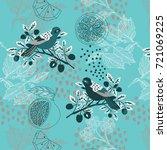 seamless pattern with birds ... | Shutterstock .eps vector #721069225