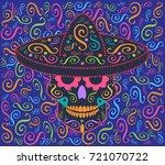mexican skull vector icon...   Shutterstock .eps vector #721070722