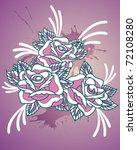 tattoo ink splater vector roses | Shutterstock .eps vector #72108280