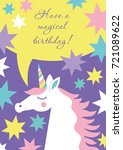magical unicorn cute birthday... | Shutterstock .eps vector #721089622