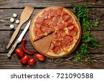pizza pepperoni and vegetables... | Shutterstock . vector #721090588