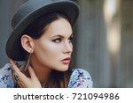 outdoor close up portrait of... | Shutterstock . vector #721094986