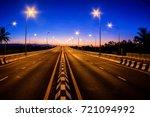 car free highway  in twilight...   Shutterstock . vector #721094992