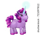 cute unicorn pony with a purple ... | Shutterstock .eps vector #721097812