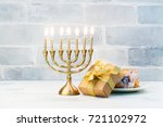 happy hanukkah background with... | Shutterstock . vector #721102972