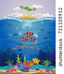 beautiful marine life with... | Shutterstock .eps vector #721105912