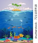 beautiful marine life with...   Shutterstock .eps vector #721105918