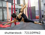 young asian gymnast woman doing ... | Shutterstock . vector #721109962