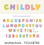 font pencil crayon. children's... | Shutterstock .eps vector #721118782