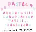 balloon font design in pastel... | Shutterstock .eps vector #721120375