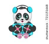 panda with headphones listening ... | Shutterstock .eps vector #721151668