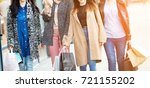 group of happy friends shopping ... | Shutterstock . vector #721155202