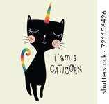 unicorn cute cat vector design... | Shutterstock .eps vector #721156426