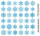 flat design line snowflakes... | Shutterstock .eps vector #721161442