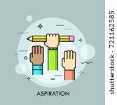 raised human hands. concept of... | Shutterstock .eps vector #721162585