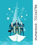 businessmen on the boat holding ... | Shutterstock .eps vector #721162786