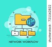 tree scheme with yellow folder... | Shutterstock .eps vector #721162822