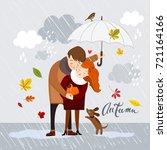 couple in the rain  autumn...   Shutterstock .eps vector #721164166