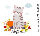 cat with a pumpkin and autumn... | Shutterstock .eps vector #721164202