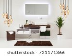 white wall clean bathroom style ... | Shutterstock . vector #721171366