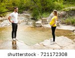 pregnant woman with her man  ... | Shutterstock . vector #721172308