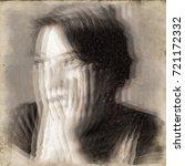 panic attack. glitched portrait ...   Shutterstock . vector #721172332