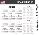 usa calendar for 2018  2019 and ... | Shutterstock . vector #721175032