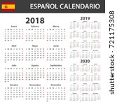 spanish calendar for 2018  2019 ... | Shutterstock . vector #721175308