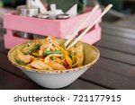 noodles with chicken and... | Shutterstock . vector #721177915