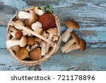 variety of uncooked wild forest ... | Shutterstock . vector #721178896