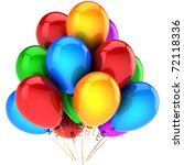 Party balloons colorful. Happy birthday holiday celebrate anniversary graduation retirement occasion life event decoration. Positive emotions abstract. Detailed 3d render. Isolated on white background - stock photo