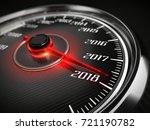2018 year car speedometer... | Shutterstock . vector #721190782