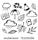 hand drawn autumn set of books  ... | Shutterstock .eps vector #721202206
