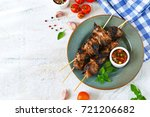 homemade pork shish kebab with...   Shutterstock . vector #721206682