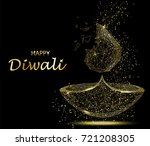 happy diwali greeting card.... | Shutterstock .eps vector #721208305