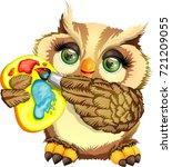 cute owl painter   Shutterstock .eps vector #721209055