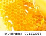 honeycombs in closeup  honey ... | Shutterstock . vector #721213096