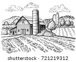 Rural Landscape  Farm Barn And...