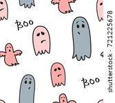 cute ghosts seamless pattern.... | Shutterstock .eps vector #721225678