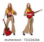 young girl with guitar on white   Shutterstock . vector #721226266
