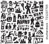 rap   hip hop   doodles set | Shutterstock .eps vector #721237705
